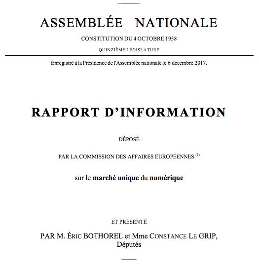 Rapport sur le Marché unique du numérique : adoption de la résolution européenne et du rapport d'information