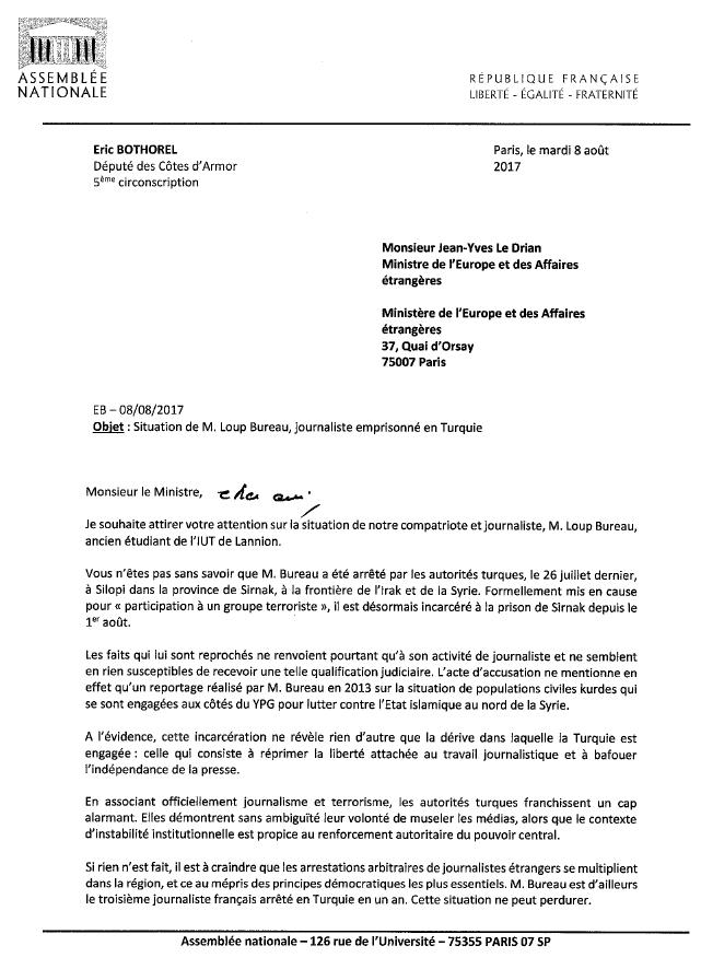 Libération de Loup Bureau – Mon courrier à Jean-Yves Le Drian
