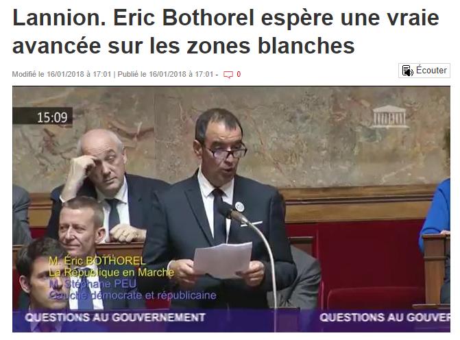 Article Ouest France – Eric Bothorel espère une vraie avancée sur les zones blanches